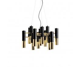 Art-deco luxusný zlato-čierny luster Lena z kovových valcov 60cm