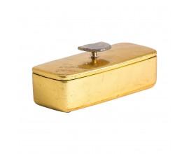 Art-deco luxusná krabička Lera v zlatom prevedení s dekoratívnym úchytom na vrchnáku 25cm