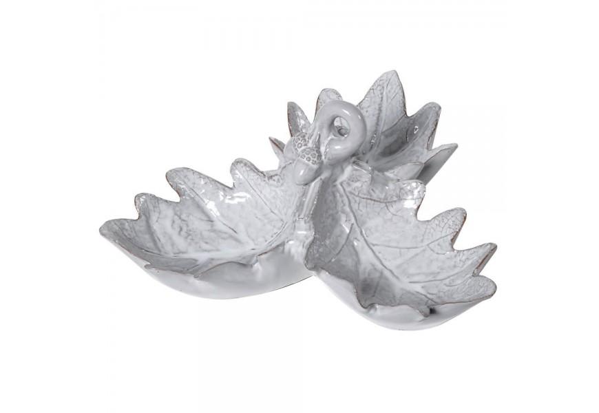Dizajnová keramická miska tri bukové listy sivej farby 25cm