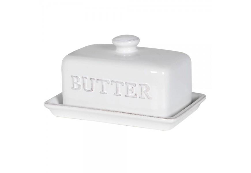 Štýlová keramická miska na maslo bielej farby 17cm
