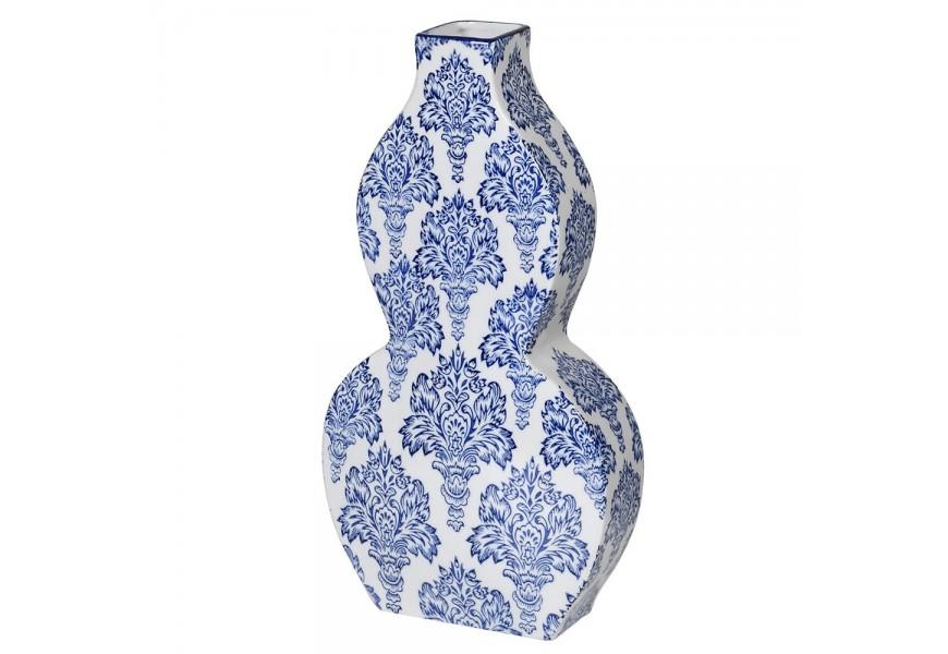 Dizajnová tvarovaná váza modro-bielej farby so vzorom 38cm