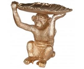 Dizajnová dekoračná misa v tvare opice zlatej farby 15cm