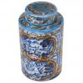 Keramická modrá dóza so zdobením v štýle talianskej majoliky 28cm