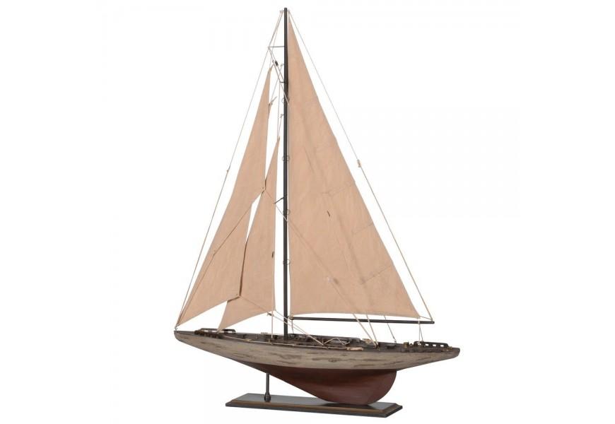 Štýlový drevený model námornej jachty v starožitnom vzhľade 98cm