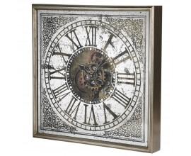 Rímske antické nástenné hodiny v zlatej a bielej farbe