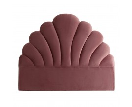 Art-deco ružové čelo postele Ossera v tvare mušle zo zamatu 160cm