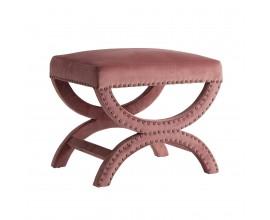 Art-deco luxusný taburet Ossera v ružovom zamatovom prevedení s kovovými prvkami 60cm