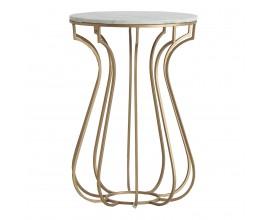 Art-deco luxusný príručný stolík Tweng s kruhovou mramorovou doskou 42cm