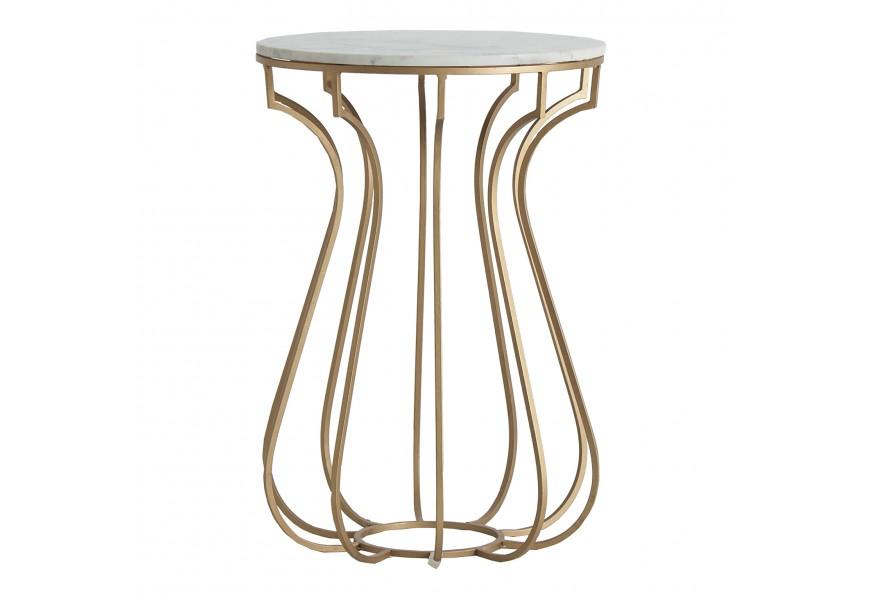 Jedinečný biely mramorový príručný stolík Tweng v Art-deco štýle v tvare kruhu na zlatých nožičkách