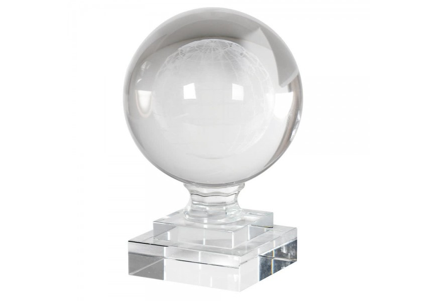 Dizajnové ťažítko krištáľový glóbus na sklenej podstave 15cm