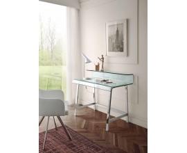 Sklenený písací stôl s chrómovými nožičkami a ergonomickou sklenenou doskou