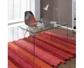 Sklenený písací stôl do pracovne a kancelárie z priehľadného skla