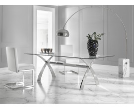 Luxusný sklenený jedálenský stôl Cromix s chrómovými nohami 200cm