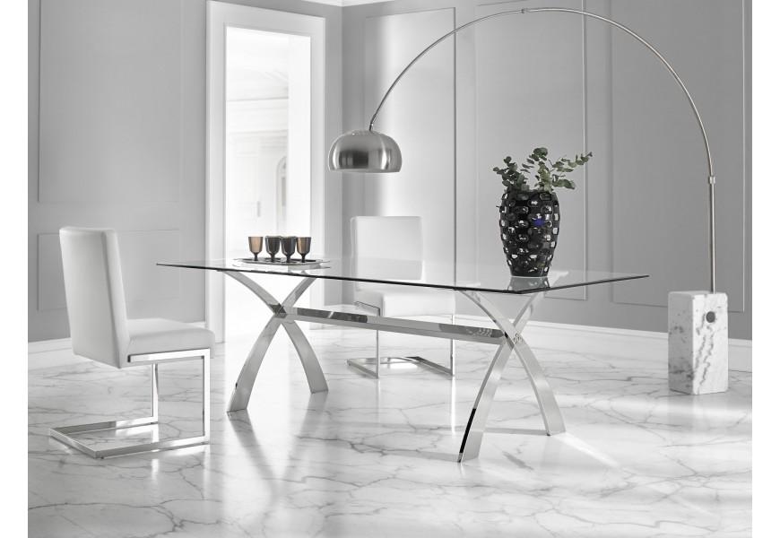 Sklenený jedálenský stôl veľký s chrómovou podnožkou v tvare X