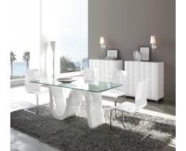 Dizajnový sklenený jedálenský stôl Oleada s bielou vlnenou podnožou 180 cm