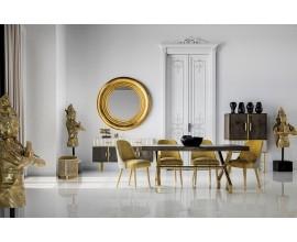 Art-deco luxusný jedálenský stôl Krai s masívnou hranatou doskou a zlatými nohami 180cm