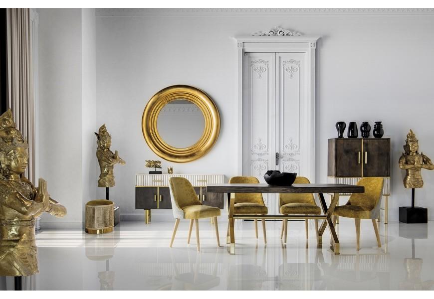 Štýlový dlhý jedálenský stôl Krai so zlatými kovovými nohami a mangovou doskou