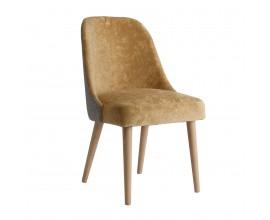Art-deco luxusná horčicová stolička Lage s drevenými nohami 87cm