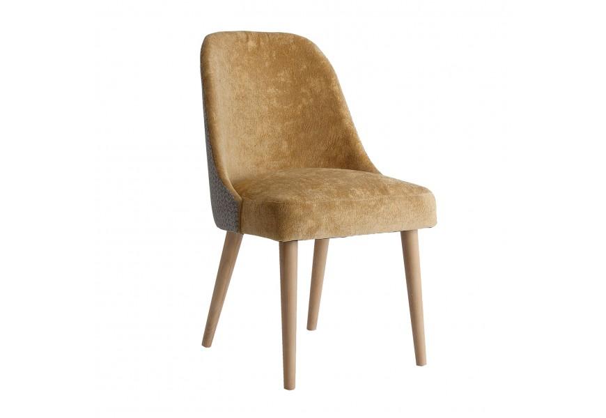 Jedinečná Art-deco zamatová jedálenská stolička Lage s geometrickým vzorom v horčicovom odtieni na nohách