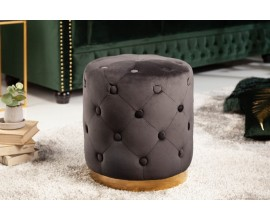 Chesterfield zámocká kruhová taburetka Modern Barock čiernej farby zo zamatu 36cm