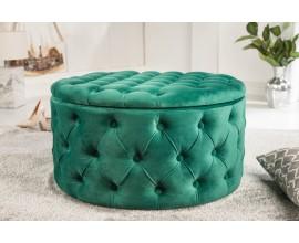 Dizajnová kruhová taburetka Modern Barock zo zamatu v zelenej farbe s chesterfield prešívaním a s úložným priestorom