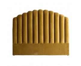 Art-deco čelo postele Zidow v horčicovom odtieni a prešívaním 160cm