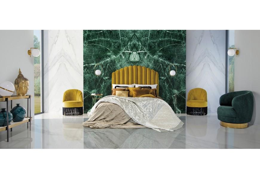 Štýlové horčicové čalúnené čelo postele Zidow v Art-deco štýle s jedinečným prešívaním na zamatovom poťahu