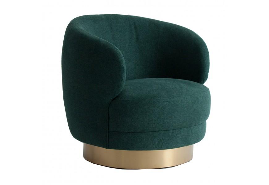 Štýlové luxusné Art-deco kreslo v elegantnom zelenom poťahu na zlatej kruhovej podstave