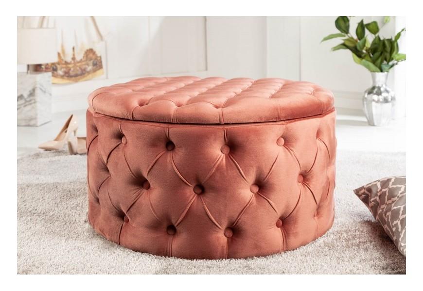 Štýlová okrúhla chesterfield taburetka Modern Barock ružovej farby zo zamatu s úložným priestorom