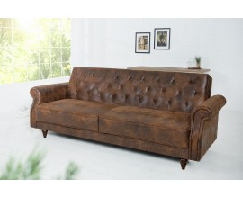 Prešívaná retro sedačka Maison Belle Affaire 220cm antická hnedá
