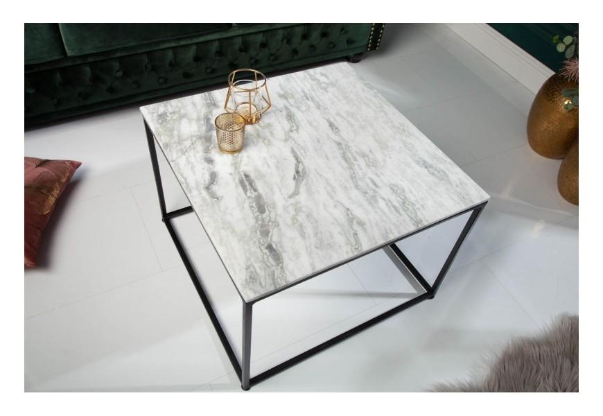Art-deco štýlový konferenčný stolík Elements Blanc z lešteného mramoru 50cm