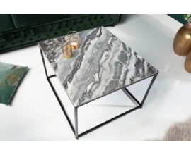 DIzajnový štvorcový art-deco konferenčný stolík Elements Gris z lešteného mramoru sivej farby
