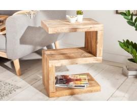 Dizajnový masívny príručný stolík Sheesham v industriálnom štýle z palisandrového dreva
