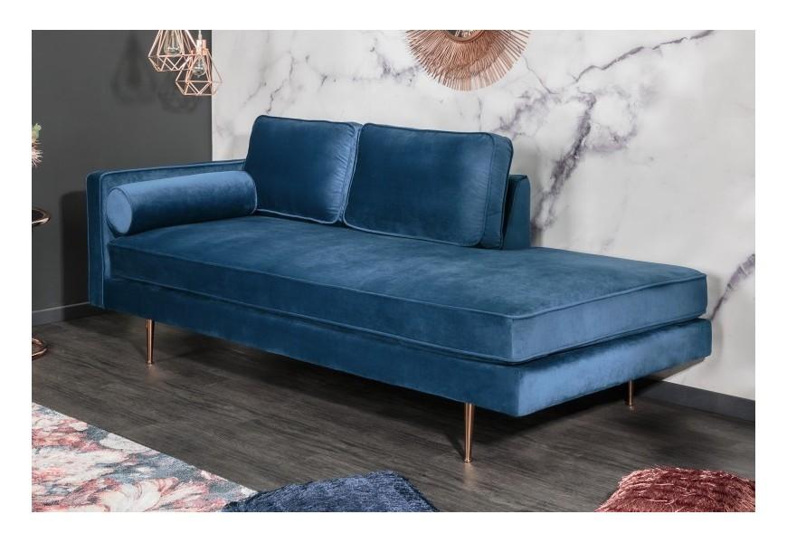 Dizajnová modrá leňoška Damisela s kovovými nohami ružovo zlatej farby