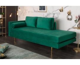Luxusná zamatová zelená leňoška Damisela s kovovými nožičkami
