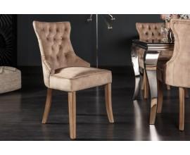 Štýlová zámocká stolička Torino s chesterfield prešívaním so zamatovým poťahom kávovej farby