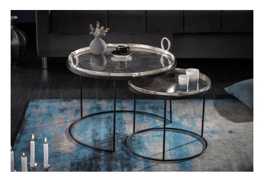 Moderný set dvoch okrúhlych príručných stolíkov Elements z kovu 62cm