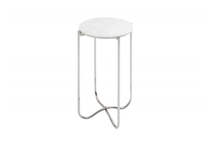 Jedinečný Art-deco mramorový strieborný skladací príručný stolík Jaspe s bledou doskou v tvare kruhu