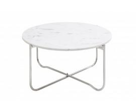 Art-deco biely kruhový konferenčný stolík Jaspe s mramorovou doskou a nohami z kovu 62cm