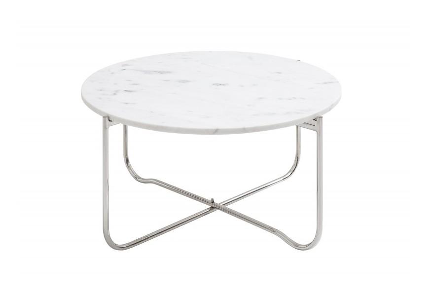 Luxusný okrúhly mramorový konferenčný stolík Jaspe so striebornými skladacími nohami v Art-deco štýle