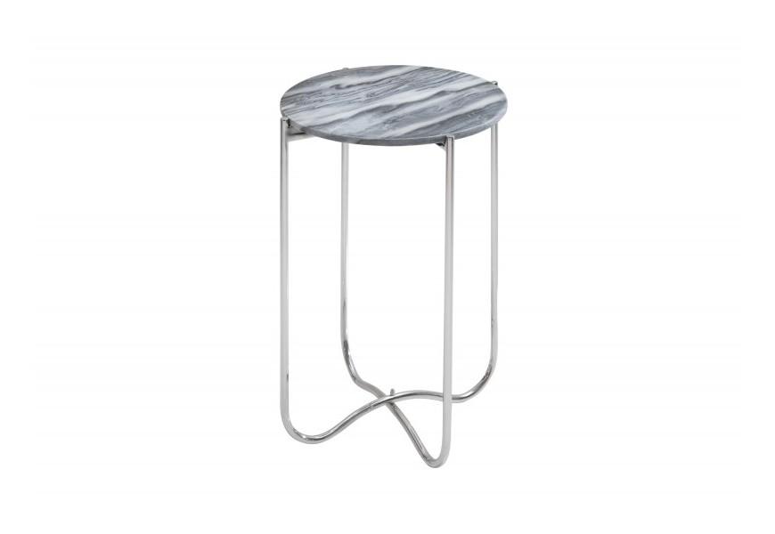 Mramorový štýlový strieborný skladací príručný stolík Jaspe so šedou mramorovou kruhovou doskou