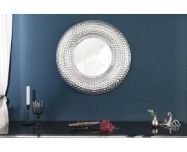 Orientálne kruhové závesné zrkadlo Solei s hrubým strieborným rámom 60cm
