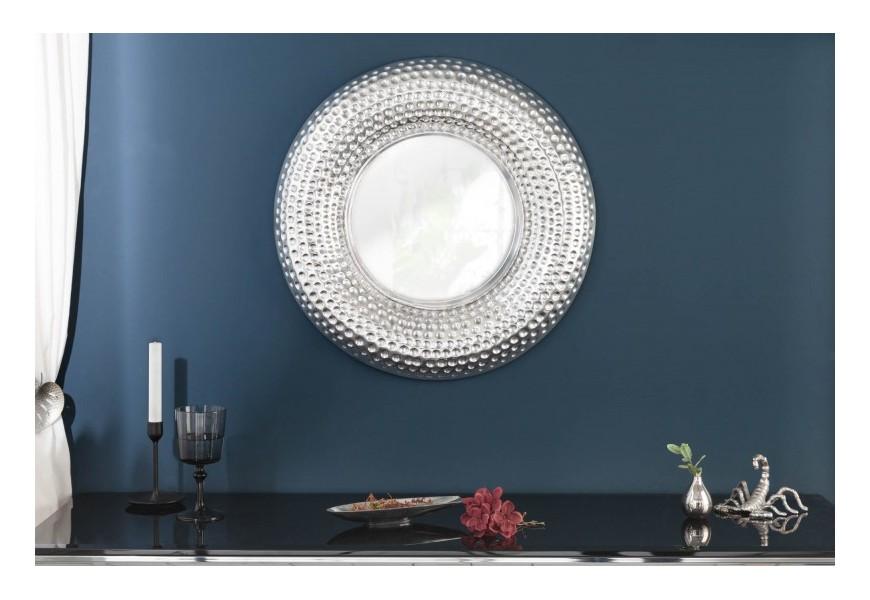 Štýlové moderné strieborné zrkadlo Solei na stenu s hrubým dekoratívnym rámom