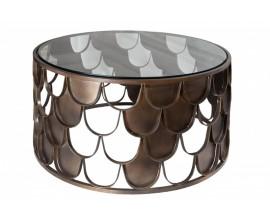 Art-deco bronzový kruhový konferenčný stolík Escama so vzorom rybých šupín a sklenenou doskou 70cm