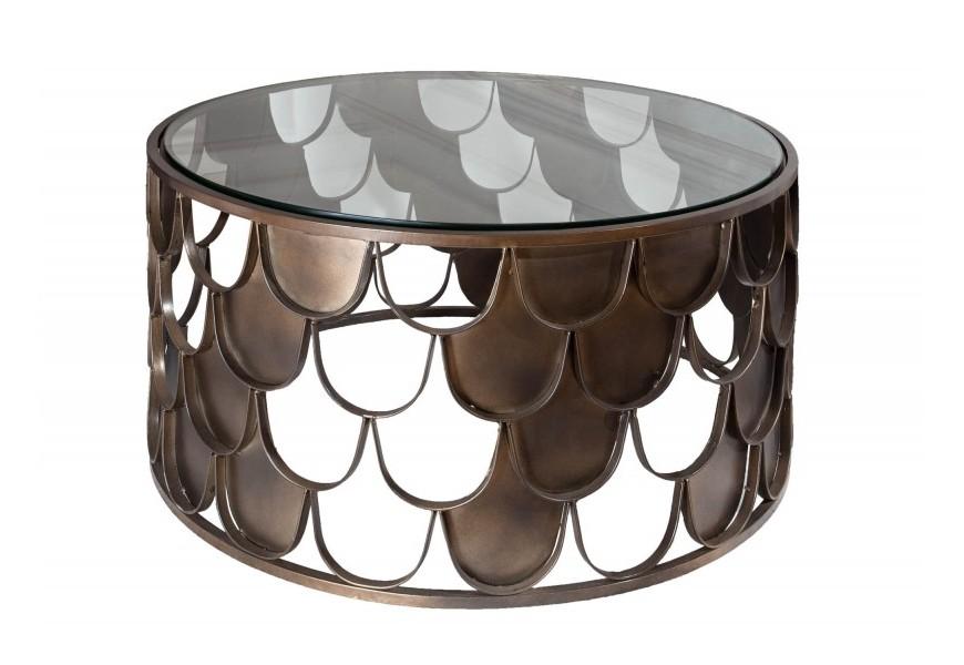 Štýlový okrúhly sklenený Art-deco konferenčný stolík Escama s bronzovou podstavou v tvare rybých šupín