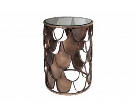 Art-deco bronzový príručný stolík Escama s kruhovou doskou zo skla a motívom šupín 40cm