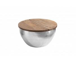 Industriálny kovový konferenčný stolík Sevii s úložným priestorom pod masívnou doskou 60cm