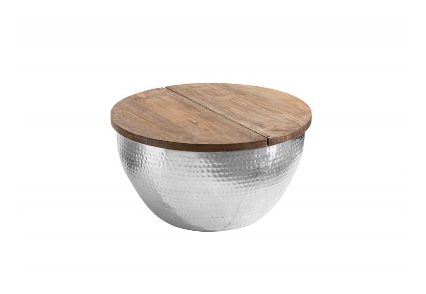 Jedinečný moderný kruhový konferenčný stolík Sevii s idustriálnou kovovou podstavou a masívnou doskou