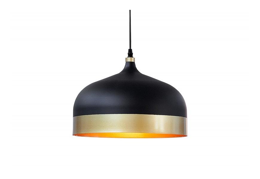 Dizajnové moderné čierne závesné svietidlo Modern Chic z kovu so zlatými prvkami