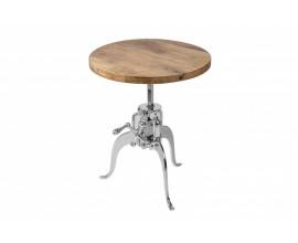 Industriálny polohovateľný príručný stolík Imsteele so striebornou konštrukciou a kruhovou doskou 50cm